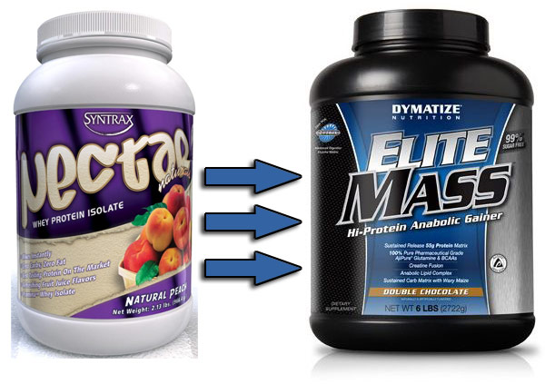 Syntrax Nectar Whey Protein Isolate -> Dymatize Elite Mass Gainer